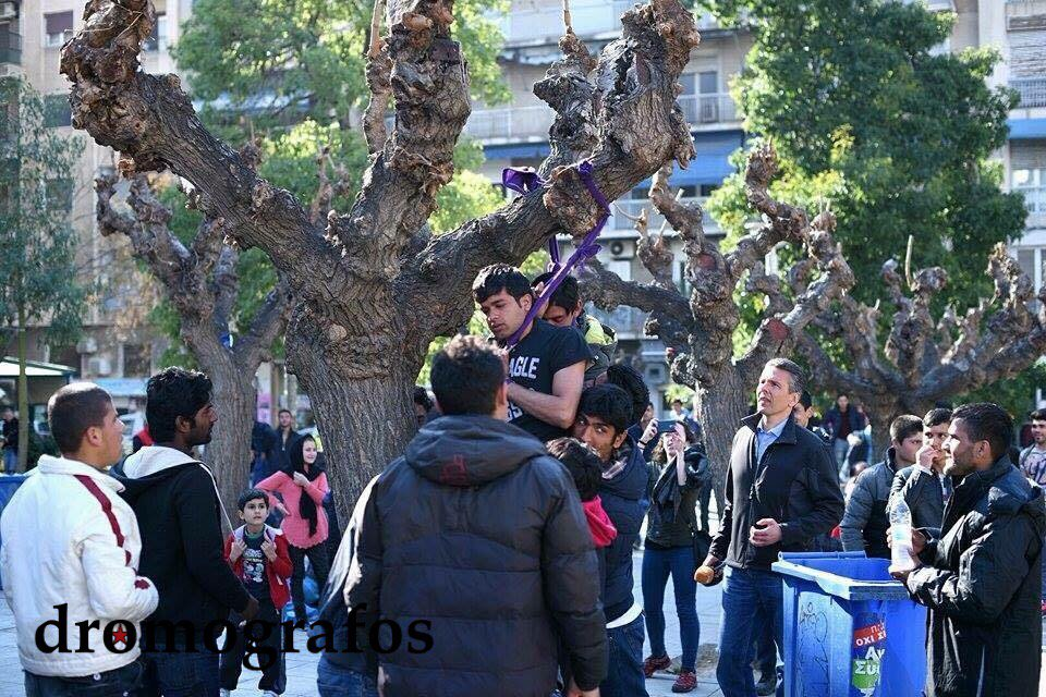 Refugees attempt suicide by hanging from tree in Greece